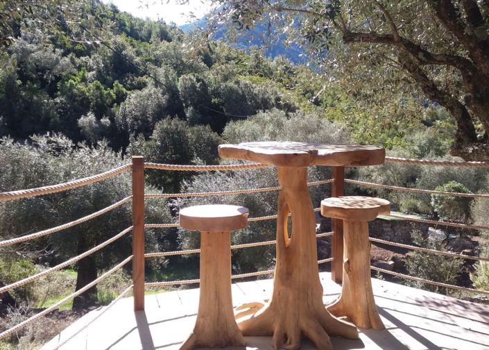 La table en olivier de L'Oliveraie du Fango
